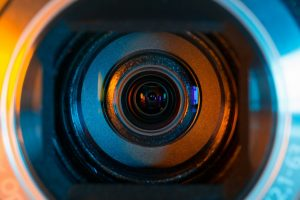 close up of video camera lens