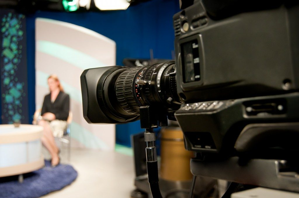 recording advertisement in TV studio