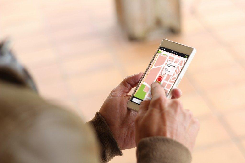 Man checking GPS on mobile