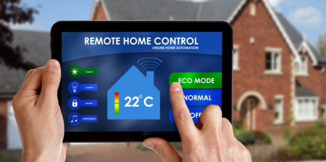 Person using home control online