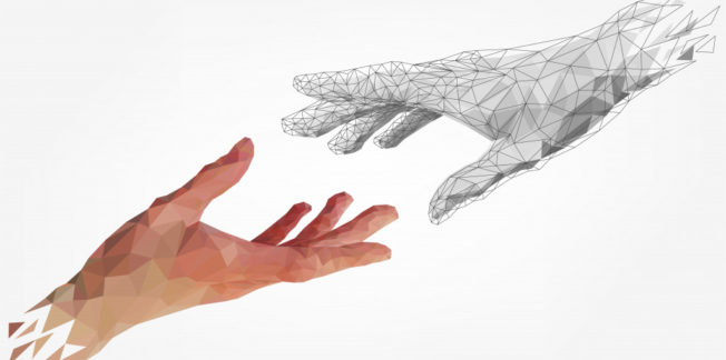 two hands reaching out to each other