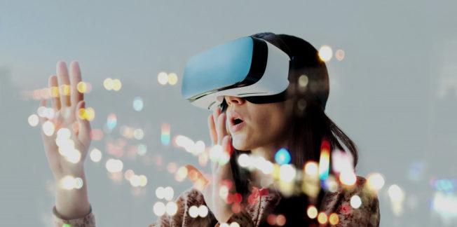 woman wearing VR tech