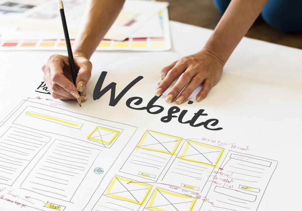 woman making website design