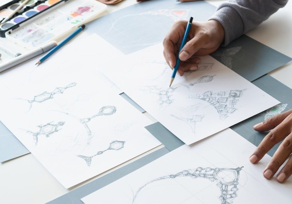 man designing product
